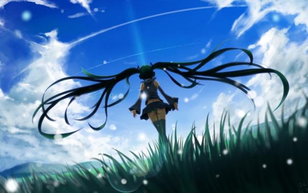 Фото обои небо, девушка, облака, наушники, арт, vocaloid, hatsune miku