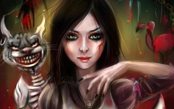 Фото обои кот, арт, Алиса, Alice, Alice; Madness Returns