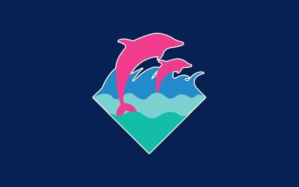 Фото обои волны, пара, дельфины, синий фон