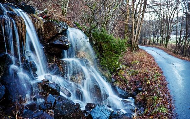 Фото обои дорога, осень, лес, вода, камни, водопад