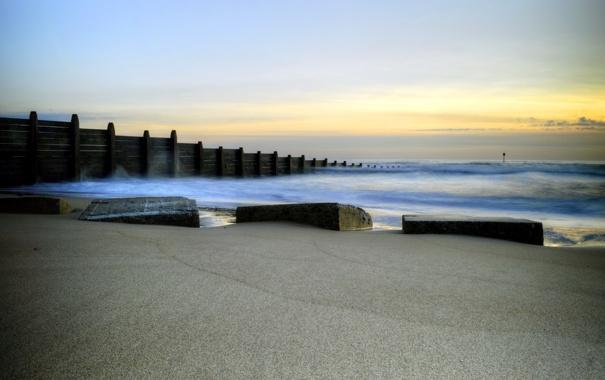 Фото обои море, пейзаж, Sunrise, Blyth Beach