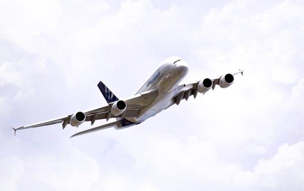 Фото обои Небо, Белый, Самолет, Авиация, A380, Airbus, В воздухе