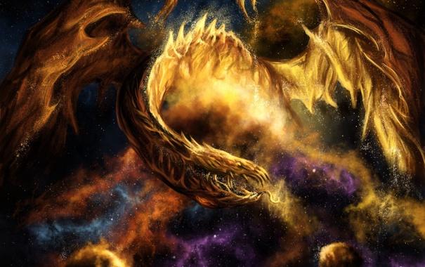 Фото обои космос, звезды, дракон, арт, планеты. туманность