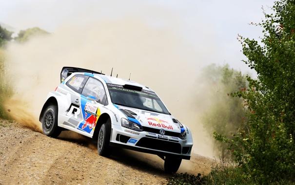 Фото обои Авто, Пыль, Белый, Volkswagen, Машина, Скорость, Занос