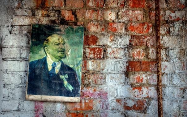 Фото обои фон, стена, ленин