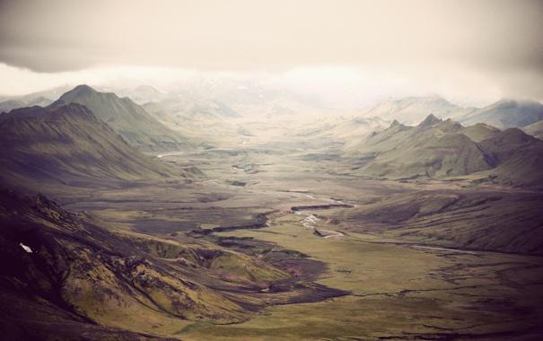 Фото обои горы, долина, Исландия, зеленые склоны, ayline olukman Photography