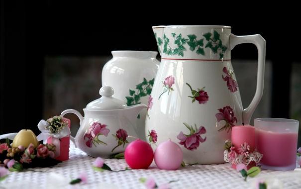 Фото обои чайник, посуда, кувшин, свечки