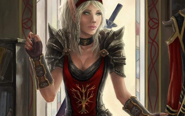 Фото обои девушка, одежда, арт, эльфийка, wow, world of warcraft