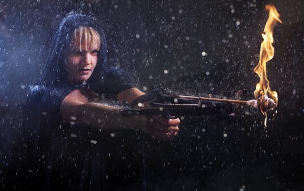 Фото обои девушка, дождь, арбалет
