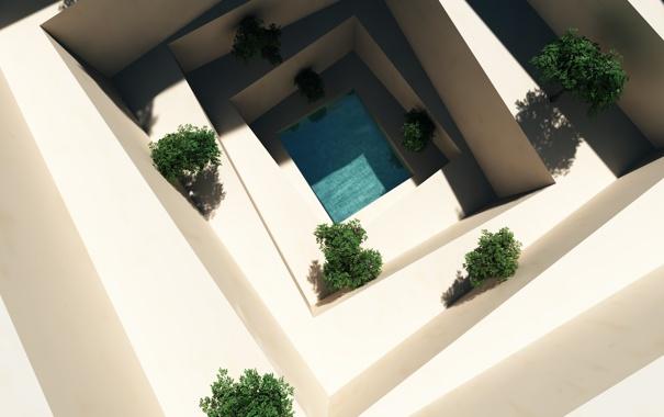 Фото обои вода, бассейн, арт, ступени, белые, кусты, вид сверху
