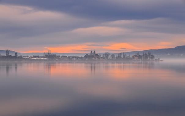 Фото обои озеро, рассвет, утро, Германия, городок, Germany, водная гладь