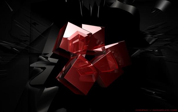 Фото обои кубы, красные, Cradle