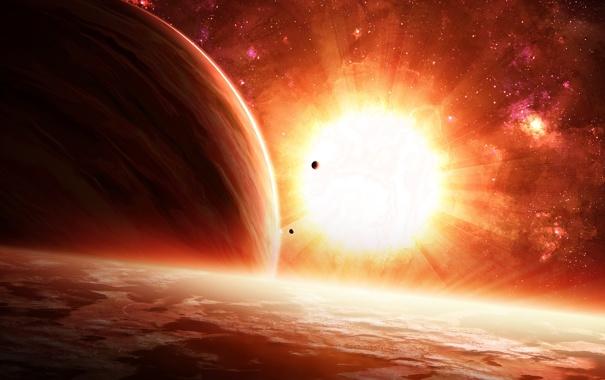 Фото обои планеты, поверхность, звезда, спутники