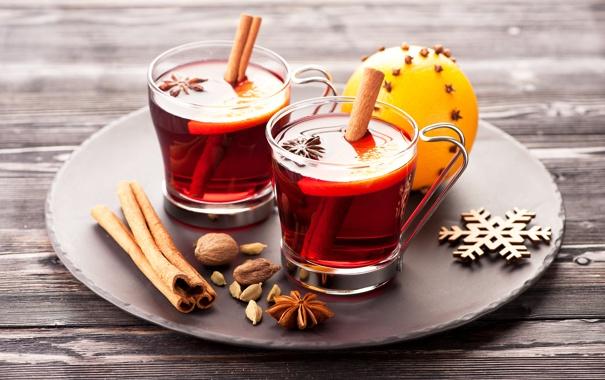 Фото обои корица, чашки, чай, апельсин