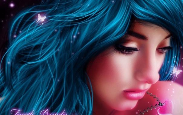 Фото обои взгляд, девушка, бабочки, фантастика, магия, сердце, синие волосы