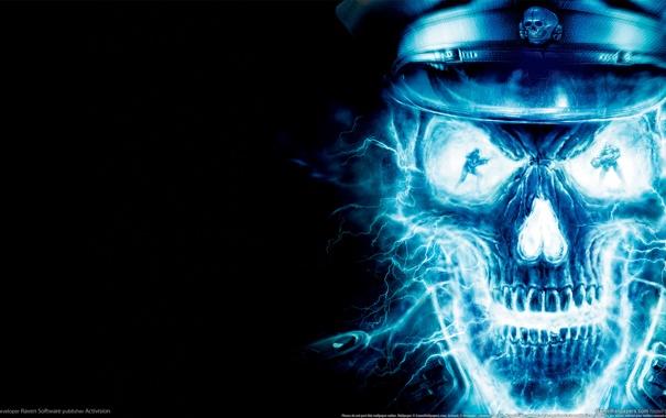 Фото обои Dark, Blue, Skull, Back, Wolfenstein