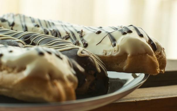 Фото обои эклер, белый шоколад, еда, вкусно, сладости
