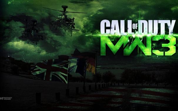 Фото обои Флаги, Call of Duty, Вертолеты, Modern Warfare 3, Mw 3, Cod