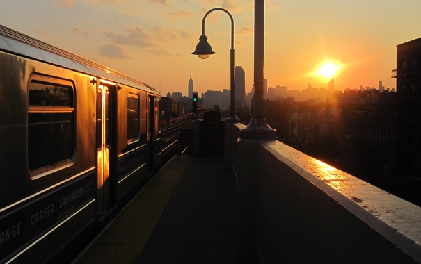 Фото обои city, summer, sunset, new york, train, nyc