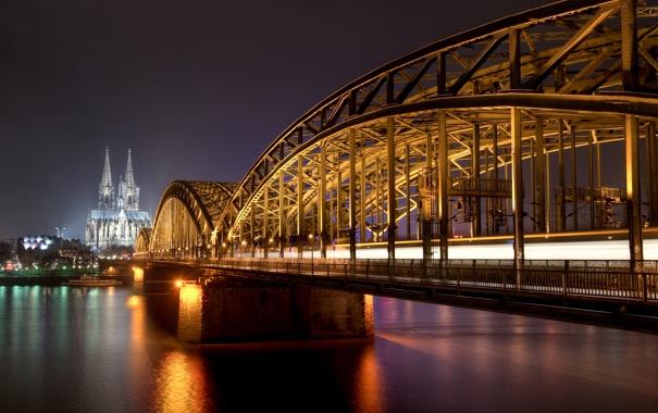 Фото обои ночь, Германия, night, germany, Кёльн, cologne, Rhine River