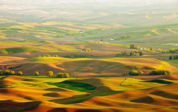 Фото обои ландшафт, вид, поля, Природа