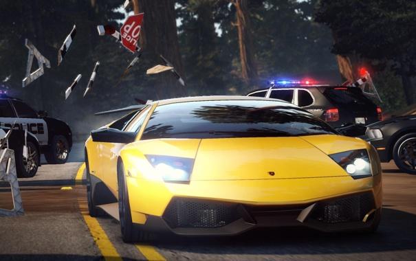 Фото обои Lamborghini, need for speed, Автомобиль, копы, hot pursuit, заслон