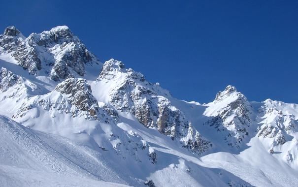 Фото обои снег, горы, склон