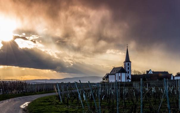 Фото обои Germany, Sunset, Church, Hessen