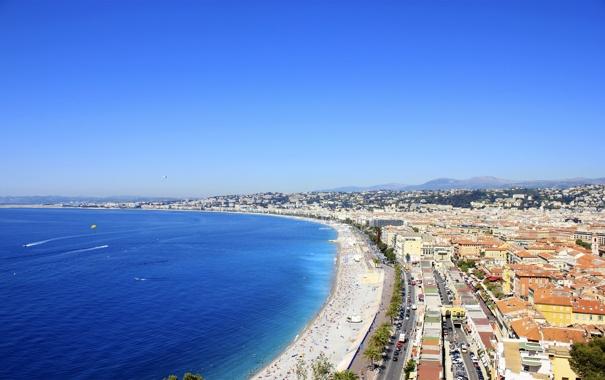 Фото обои море, город, берег, франция, Ницца, venitomusic