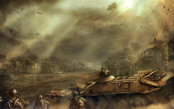 Фото обои город, война, солдаты, танк, бтр
