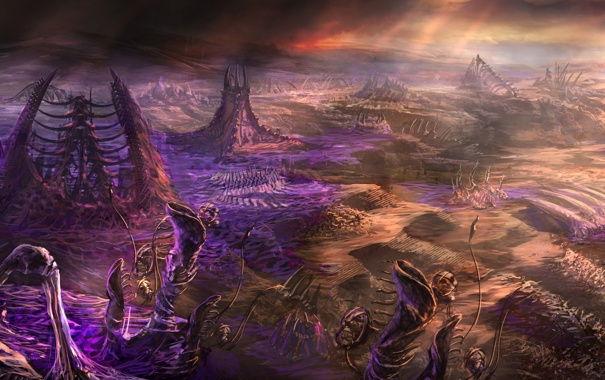 Фото обои zerg, starcraft 2, skulls, living buildings