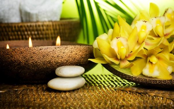 Фото обои свечи, миска, орхидея, камешки, stones, Orchid, candles