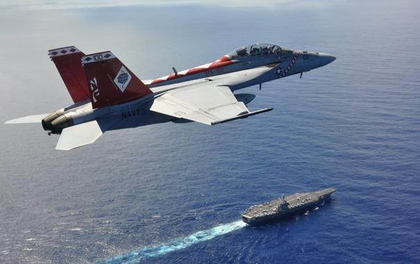 Фото обои USS George Washington, FA18F, Philippine Sea
