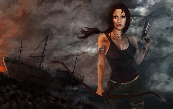 Фото обои девушка, пистолет, корабль, луг, tomb raider, крофт, лара