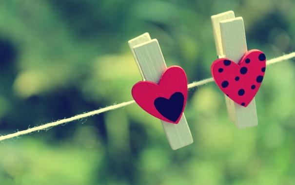 Фото обои прищепки, сердце, фон, зелень, настроение, разное