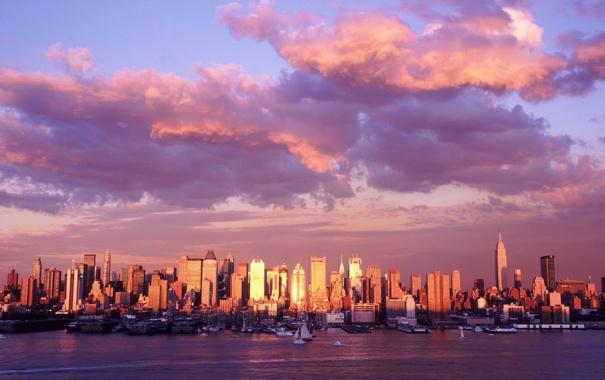 Фото обои облака, город, панорама