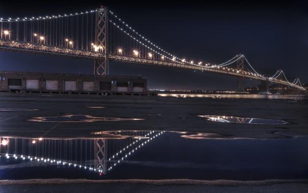 Фото обои ночь, отражение, the bay bridge