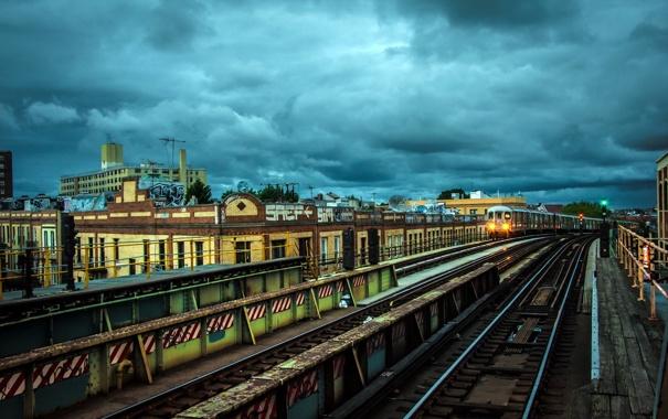 Фото обои город, железная дорога, NYC