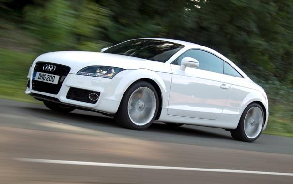 Фото обои дорога, белый, ауди, audi, купе, coupe, 2.0