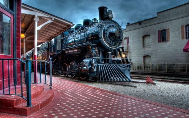 Фото обои поезд, паровоз, станция