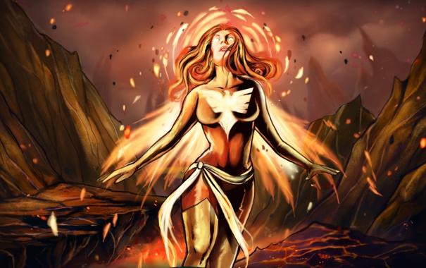 Фото обои девушка, фантастика, огонь, арт, костюм, лава, феникс