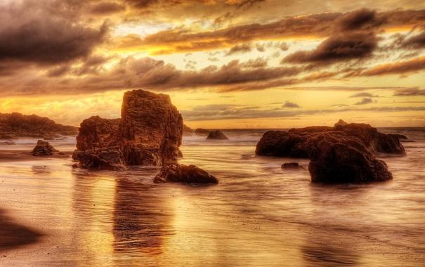 Фото обои море, пляж, небо, золото, скалы
