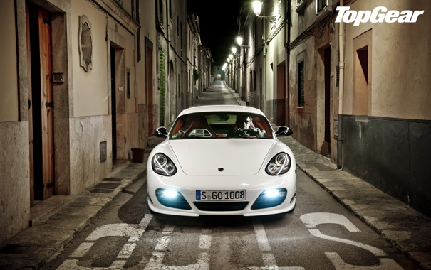 Фото обои белый, ночь, Porsche, фонари, Cayman, суперкар, переулок
