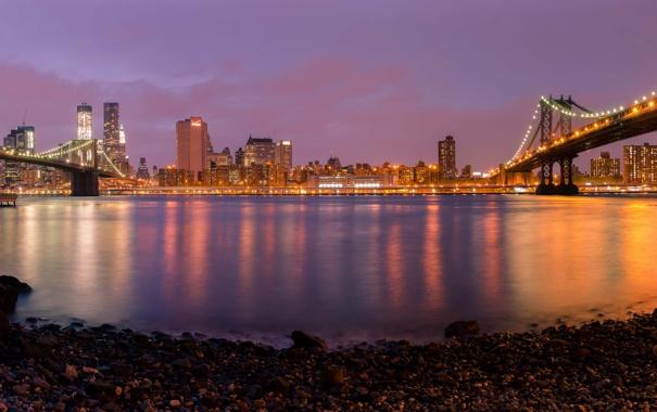 Фото обои ночь, огни, панорама, мосты, бруклин