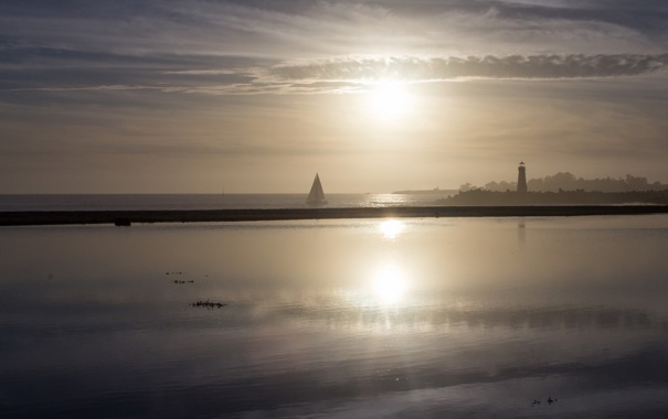 Фото обои sunset, lighthouse, Santa Cruz, Boat, sailing