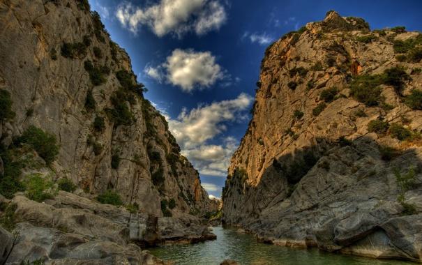 Фото обои небо, вода, облака, река, Горы