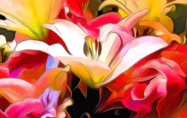 Фото обои природа, абстракция, рендеринг, лилия, лепестки