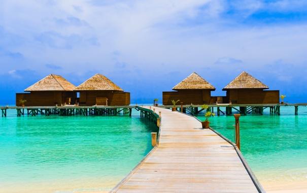 Фото обои море, вода, океан, берег, пейзажи, дома, домики