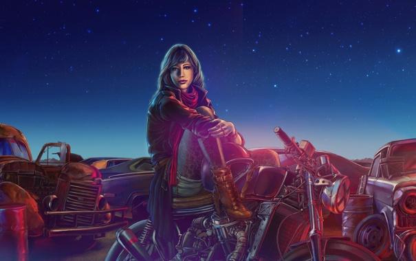 Фото обои девушка, машины, ночь, мотоцикл