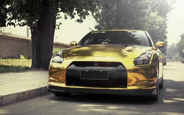 Фото обои nissan, gold, sportcar, gtr